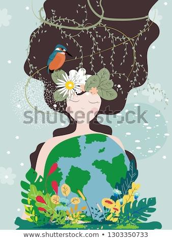 Moeder natuur vrouw groene aarde jonge vrouw Stockfoto © cienpies