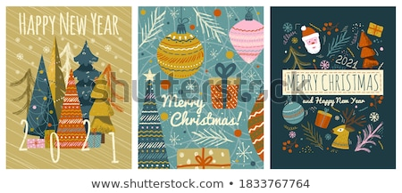 merry christmas greeting with deer in forest vector stock photo © robuart
