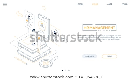 HR management - line design style isometric web banner Stock photo © Decorwithme