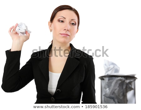 Woman Throwing Crumpled Paper In Dustbin Stock photo © AndreyPopov