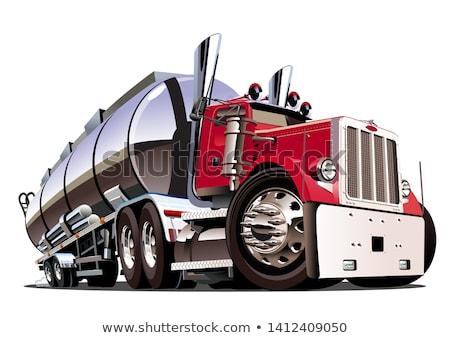 Cartoon Semi Tanker Truck Isolated On White Background Stock fotó © Mechanik