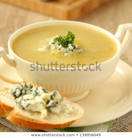 Házi készítésű hagyma leves zeller márványsajt fából készült Stock fotó © Melnyk