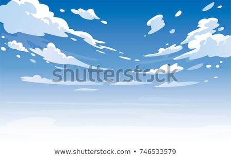 Blauwe hemel zee pluizig wolken illustratie hand Stockfoto © amok