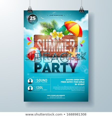 Vector Summer Party Flyer Design With Flower Palm Trees And Sun Glasses On Sun Yellow Background S Stok fotoğraf © articular