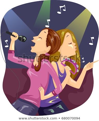 Teen dziewcząt znajomych klejenie karaoke ilustracja Zdjęcia stock © lenm