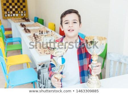 Nino trofeo ajedrez torneo emoción Foto stock © Kzenon