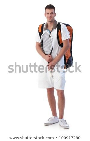 Stockfoto: Mannelijke · tennisspeler · opleiding · knap · tennisracket