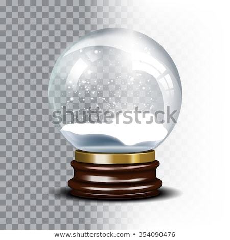 empty snow globe vector shadows reflection and lights glass sphere on a stand isolated on transp stock photo © pikepicture