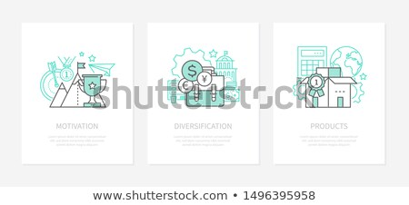 Motivation, goal setting - line design style icons set Stock photo © Decorwithme