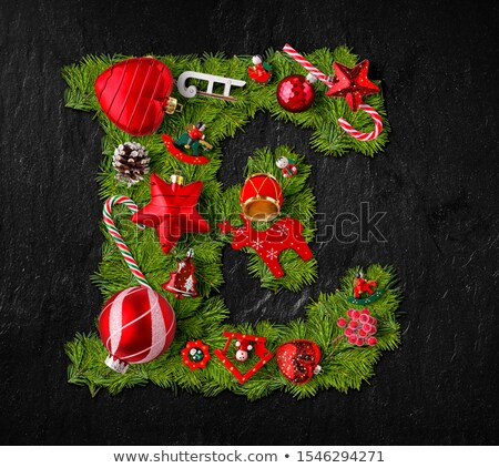 Letter E made of Christmas tree ornaments Stock photo © grafvision