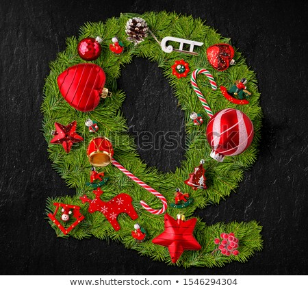 Letter Q made of Christmas tree ornaments Stock photo © grafvision