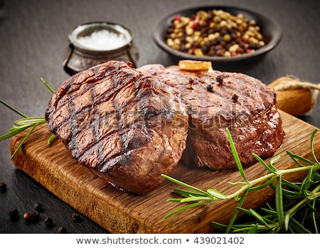 Stockfoto: Grilled Beef Steak With Rosemary Salt And Pepper