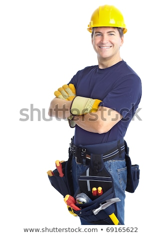 construction employee tools over white background Stock photo © Lopolo