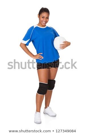 Boldog fiatal lány tart röplabda izolált fehér Stock fotó © Lopolo