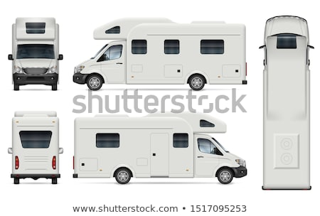 RV trailer vector illustration view from side, front, back Stock photo © YuriSchmidt