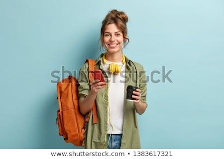 Estudante menina livros café palestra educação Foto stock © dolgachov