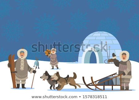 Arctic People Settlement, Igloo and Inuits Village Stock photo © robuart
