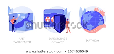 Planet ecology defence ways, environment pollution prevention, nature care vector concept metaphors. Stock photo © RAStudio