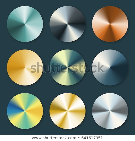 Set of bright glossy round polished bronze, gold, silver and iron metals plates on white Stock photo © evgeny89