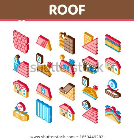 водонепроницаемый материальных крыши изометрический икона вектора Сток-фото © pikepicture