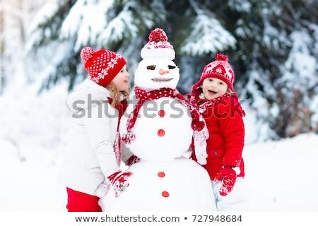 группа · друзей · снеговик · девушки · улыбка · снега - Сток-фото © Paha_L