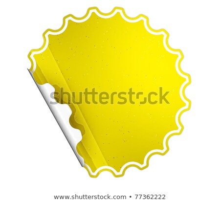 Rounded Yellow Hamous Sticker Or Label Stok fotoğraf © Arsgera