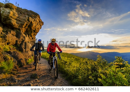 biker in action with a beautiful landscape Stock photo © pedromonteiro