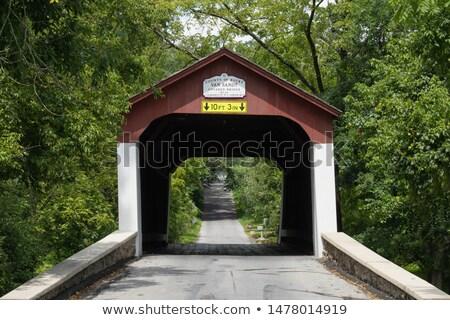 Kamyonet kapalı köprü ahşap yapı Stok fotoğraf © njnightsky