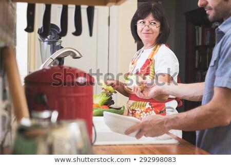 idősebb · nő · tapsolás · zöldségek · idős · élet - stock fotó © photography33