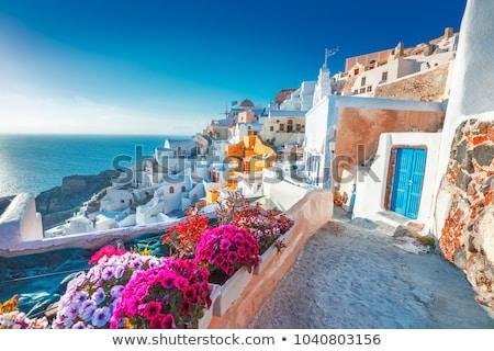 Santorini Griekenland panoramisch dorp klif Stockfoto © Elenarts