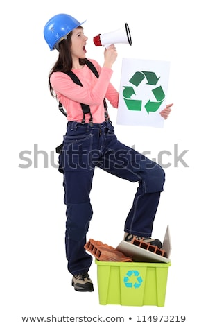 Eco-friendly tradeswoman yelling into a megaphone Stock photo © photography33