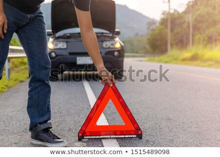 férfi · fluoreszkáló · mellény · ki · figyelmeztetés · háromszög - stock fotó © photography33