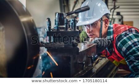 工場労働者 · マシン · 垂直 · 画像 · 白人 · 青 - ストックフォト © lisafx