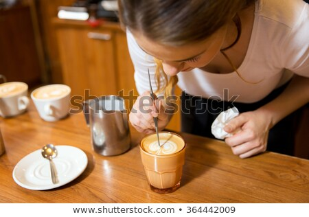 Girl With  Froth Art  latte Coffee Stock photo © ozgur