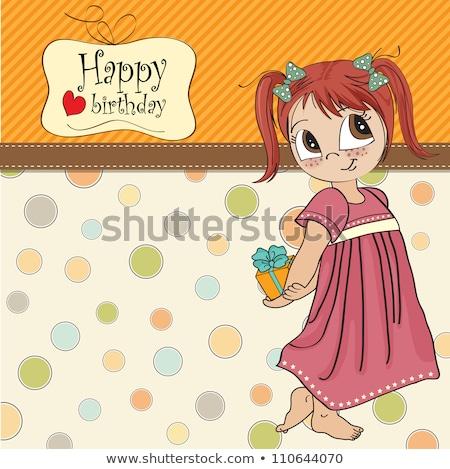 Güzel genç kız hediye kız gülümseme Stok fotoğraf © balasoiu