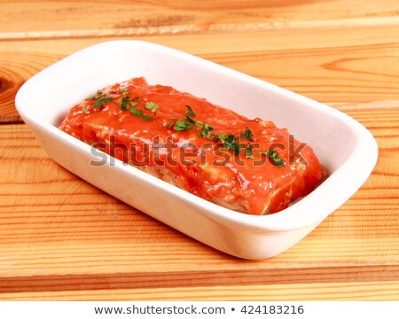 red lasagna isolated on wooden background Stock photo © shutswis