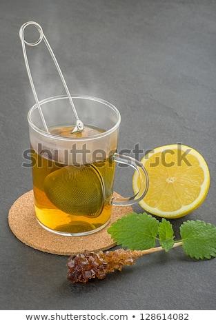 Stok fotoğraf: Fincan · çay · plaka · cam · yeşil · içmek
