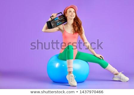 красивая женщина сидят фитнес мяча портрет Фитнес-женщины Сток-фото © williv