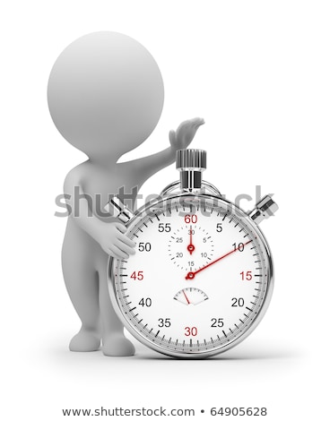 The 3D little man with a stop watch. Stock photo © karelin721