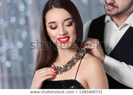 Gyönyörű fiatal nő portré ékszerek közelkép szemek Stock fotó © photocreo