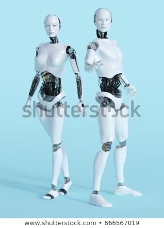 Stehen android gerendert schwarz glücklich Wissenschaft Stock foto © Kirill_M