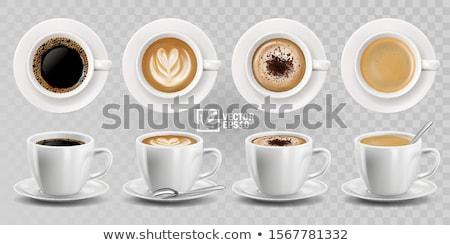 Kávéscsésze csészealj fa asztal sötét kávé kávézó Stock fotó © scenery1