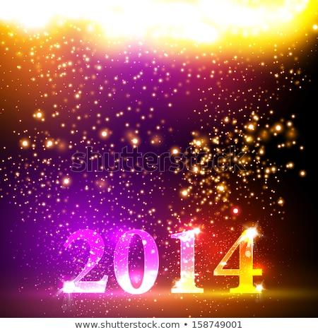 Nieuwjaar 2014 reflectie kleurrijk sjabloon Stockfoto © bharat
