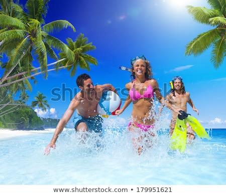 beautiful young woman in bikini with snorkel stock photo © andreypopov