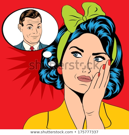 illustration of a woman who thinks a man in a pop art style, vec Stock photo © balasoiu
