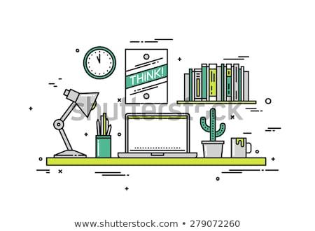 escritório · espaço · lápis · tesoura · branco · papel - foto stock © reicaden