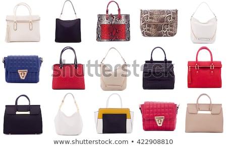 piros · pénztárca · fehér · retro · női · gyönyörű - stock fotó © designsstock