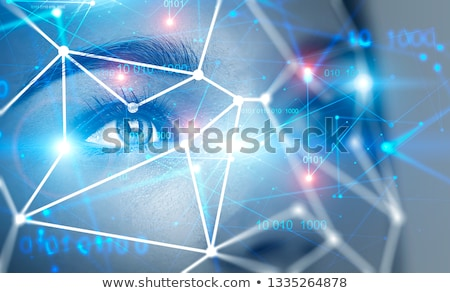 Futuristic cyber face with glowing eye Stock photo © Nejron