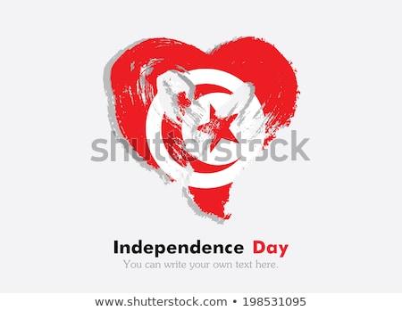 Tunisia flag and Heart icon Stock photo © kiddaikiddee