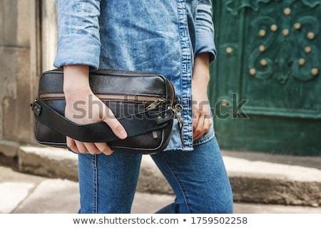 femme · cuir · bourse · bleu · isolé · femmes - photo stock © cypher0x